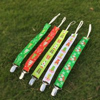 Wholesale Christmas Pacifier Clip Blanks Polyester Ribbon Kids Pacifier Chain Tree and Present Holder Clip in Colors DOM103407