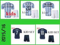 Superior de Tailandia de los jerseys del fútbol de 2015 niños de los childs Uniformes Argentina MESSI set 15 16 Chicos Argentina Niños Camisas Camisas 2016 Kits de jóvenes