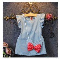 Wholesale Korean Casual Formal Dressing - 2016 Summer Korean Kid Gown Girls Dresses Flying Flouncing Sleeve Dress with Bowknot Minnie Handbag Casual Vest Dress Child Clothing
