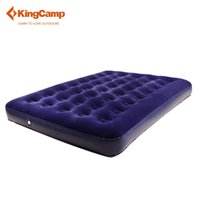 airbed double - KingCamp Double Flock Airbed with Oxford Stuff Sack Portable Outdoor Camping Mat Blue Outdoor Mattress for Hiking Trekking