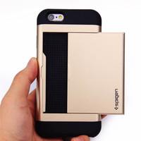 al por mayor iphone identificación del monedero-Para iPhone 7 SGP Slide tarjeta de la caja 2 en 1 ranura ID de la cartera de doble capa cubierta antichoque protector para 6 6s 6plus 5s SE 4s Samsung S7 S6 borde