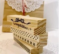 Wholesale 1 CM Korea style romantic long wooden lace stamps for diary scrapbooking album gift set