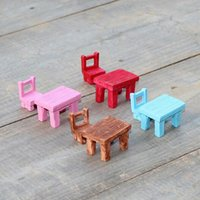 art table and chair - 2016 Cute artificial chair and table Ornaments miniatures for fairy garden gnome resin crafts bonsai bottle garden decoration