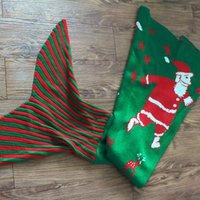 Wholesale Christmas Santa Claus Design Mermaid Blanket Wool Knitting Fish Tail Blanket Unique Christmas Gift