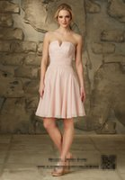 sister of the bride dress - Strapless Lace Short Bridesmaid Dress Light Pink Chiffon Sister of the Bride Dresses Pleated Vestido De Madrinha BM461