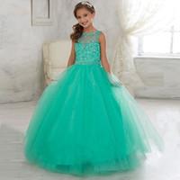 Cheap Light Green Ball Gown Girls Pageant Dresses 2016 Sheer Neck Sleeveless Crystal Tulle Floor Length Little Rosie Pageant Dresses For Teens