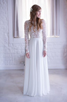 Cheap Romantic Bohemian A Line Wedding Dresses With Sheer Long Sleeves Jewel Neck White Chiffon 2016 Spring Boho Bridal Gowns For Beach Garden