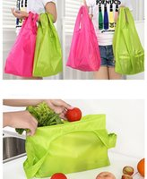 Wholesale 2016 Plain Foldable Waterproof Shopping Bags Candy Color Resuable Grocery Bags colors Polyester Promotion Bags