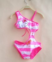Cheap 3-10T KIDS Hello Kitty Swimsuit One-Piece 2016 Children Girls personality Swimwear Pink cartoon Clothes Baby Summer bathing suit 5size choos