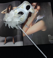 Wholesale Venetian masquerade feather flower sparking mask on stick Mardi Gras Costume Halloween Carnival fashion Hand Held Stick party mask
