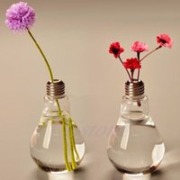 bamboo hanging lamp - 2015 Modern Glass Bulb Lamp Shape Flower Water Plant Hanging Vase Hydroponic Container Pot Office Wedding Decor Y102
