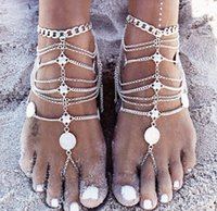 Wholesale 24pcs Rock Punk Style Coins Fashion Sexy Layers Chain Anklet Bracelet Ankle Chain Foot Jewelry Barefoot Beach Anklets K7479
