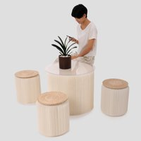 accordions - H35xDia34cm Novel Innovation Funiture Pop Paper Stools Indoor Universal Study room Waterproof Accordion Style Kraft Height quot White