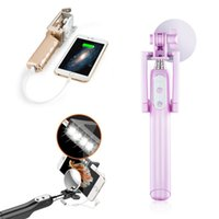 Wholesale Selfie Stick with Built in mah powerbank Multi function Wired Control Brightness LED Light Angle Rotation Compatible w
