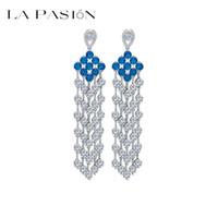asian tuxedo - LA PASION Brand Tassel design sapphire and zircon rhodium Swiss luxury classic tuxedo for women and weddings and other occasions
