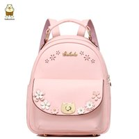 Wholesale Princess Pink Girl bag Fashion leather shoulder bag Hollow flower decoration knapsack Comfort Travel Backpack