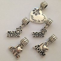 antique printing plates - Antique Silver Plated Dog Cat Paw Print Always in My Heart Beads Charms fit Pandora Bracelet for Animal Lover jewelry making