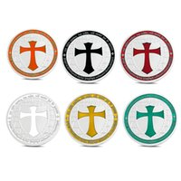 antique metal tokens - Silver Plated Knights Templar Europe Cross Token Souvenir Coin Collections For New Year Gift Commemorative Coin