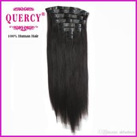 Wholesale 8A Brazilian PU Skin Weft clips hair human hair extensions clips in hair weft inch with natural color in stock