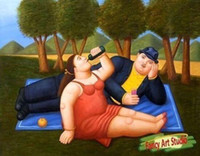 Wholesale The picnic ART OF Fernando Botero Genuine Handpainted Wall Decor Art oil Painting On Canvas Museum Quality in any size chosen