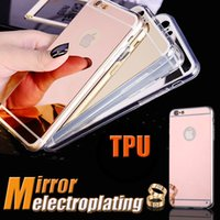 Wholesale Fashion Deluxe Electroplating Mirror TPU Clear Soft Back Phone Case Cover for iPhone Plus S S SE Samsung S7 edge S6 DHL
