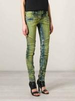 american water pipes - 2015 BALMAIN Womens Ribbed Zip Moto Skinny Denim Jeans Brand New Sz