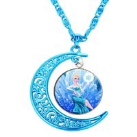 accessories themes - 2016 New Frozen Film theme necklace Princess Prince Olaf Gemstone necklaces pendants For women Accessories Moon pendants necklace