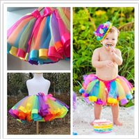 Wholesale Summer New Kids Rainbow Tulle TuTu Dress Children s Skirt Half Dress Pretty Girls Skirt