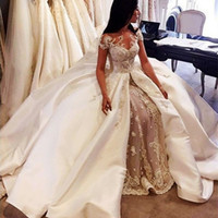 african wedding customs - Vintage Wedding Dresses Jewel Sheer Neck Short Sleeves Wedding Gowns With Lace Appliques Satin Arabic African Bridal Dress