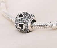 Wholesale New Hot PAN S925 Sterling Silver Tumbling hearts Clear CZ Charms loose Beads for women diy fashion jewelry loose beads perles mincanga