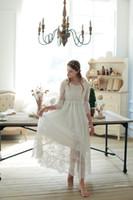Cheap Free Shipping 2016 New Spring Princess Nightdress Royal Pyjamas Women's Long Nightgown White Lace Sleepwear Can Outer Wear