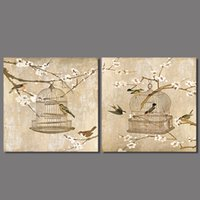abstract bird paintings - Retro Chinese paintings living room Decoration plum flower and bird Canvas Painting on wall Hanging home decor unframed