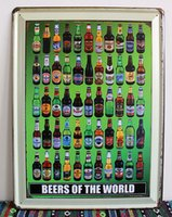 Wholesale 3pcs Metal Sign shabby chic Beers of the world Vintage Metal signs wall decor House Office Bar Metal Painting art