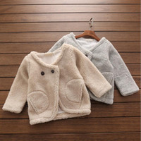 arriva fashion - Imitation Lamb Fur Coat decorated with two buttons fashion thickening tops for baby girls kids children clothing winter new arriva