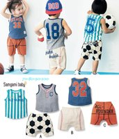 baby soccer jerseys - 2017 New Baby Infant Toddler Sport Waistcost Shorts Boy Child Cotton Soccer Polo T Shirts Tops Tees Undershort Clothing Sets Jerseys Suits