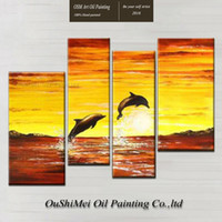 beautiful dolphin pictures - Beautiful Landscape Lovely Dolphins Jumping in Sea Oil Painting On Canvas Double Dolphin Oil Painting For Living Room Decoration