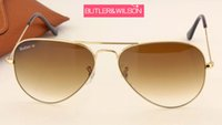 Wholesale sunglasses gold brown gradient degrade metal pilot sun glasses mm brand new designer men women fashion glasses gold new in case