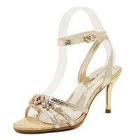 aa gladiator - New Elegant women Sandals Fashion Women Roman Shoes Strappy Rhinestone Hasp Thin with Fish Head Comfortable Ladies Sandals