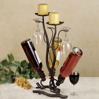 Wholesale Metal iron wine rack three bottles and three cups of goblet wine rack and hanging ornaments