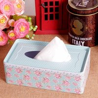 Wholesale Creative lovely flower napkin box london flag tissue holder tin plated tissue box D10