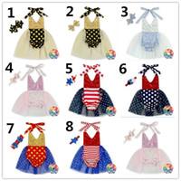 Cheap 8 Color Bontique Baby One-piece Infant Rompers Sequin Suspender Jumpsuit + Headbands 2pcs Climbing Sets Fashion Children Clothing K7183