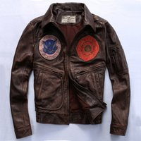 badge pattern - Avirex Fly Badge Flight Jacket Men s Genuine Leather Jacket With Pattern Brown Thick Cowhide Leather Coat Men Pilot Jacket Slim