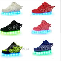 roller skate shoes - Kids LED Wings Shoes Light Up Sport Flats Luminous Sneakers Casual Shoes LED Lighter Flying Heelys Roller Skate Shoes Running Shoes B907