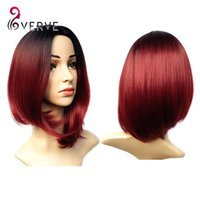 26cm best bobs - VERVES ombre synthetic burgundy bob wigs cheap sexy female short haircut best natural looking women wigs cosplay