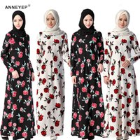arab traditional - New Arab Women Robes Islamic Clothing Fashion Women Elegant Big Flower Printed Dress New Brand Traditional Moslem Clothing Dress