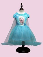 b cloak - 2 Color Girls Frozen Cinderella Lace paillette cloak Dress DHL children lovely Princess Elsa Anna Lace bowknot Short sleeve dress B