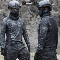 Wholesale 5 Colors Combat Tactical Shirts Men Long Sleeve t shirts Kryptek Camo Hunting Clothing Quick Dry Python Pattern Paintball Airsoft tshirts