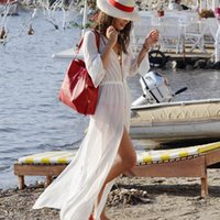 Wholesale 2016 Sexy Women Beach Cover Up Long Sleeve Loose Bathing Suit Cover Ups Ankle Length Long Beach Dress Sheer Vintage Swimsuit