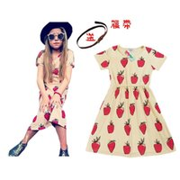 Cheap Samgami Baby Girls Boys Clothing Sets 2016 New Summer Hot Style Girls Clothes with sash Strawberry Short Sleeve fruit dresses for kids