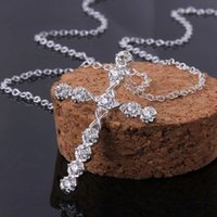 Cheap Women Crystal Cross Pendant Necklace Sterling Silver Plated Chain Jewelry silver 925 zircon sterling silver chain ball